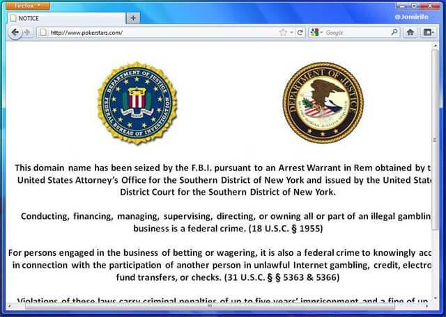 PokerStars.com Webseite nicht erreichbar FBI Hat sie geschlossen